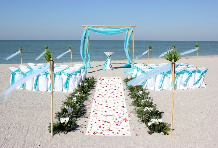 Ocean Waves Beach Wedding Package with Aqua sashes and decor