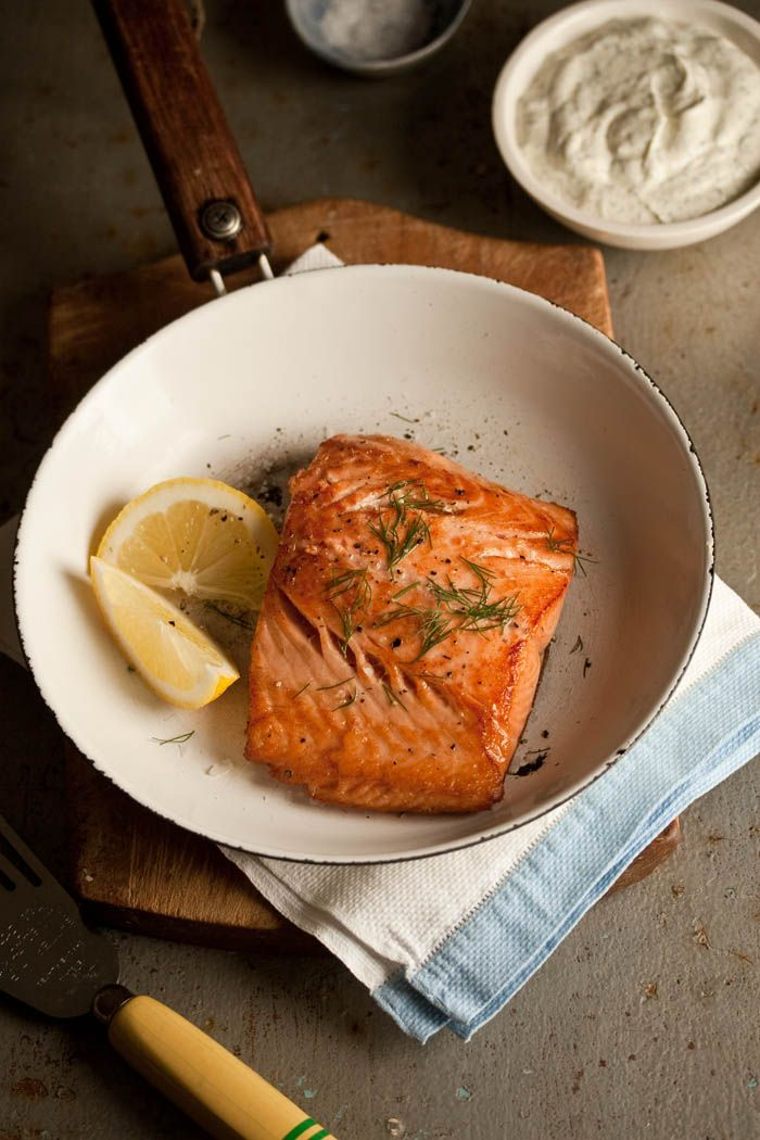 Pan-Fried Salmon with Lemony Dill Dressing | Drizzle & Dip