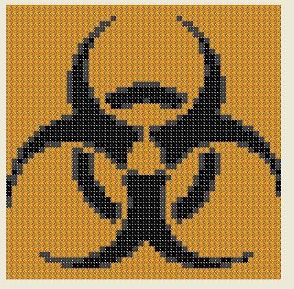 Cross Stitch Pattern Bio-hazard Symbol PDF Download Caution Hazardous