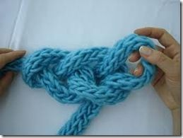 Hand crochet your finger knitting work into a a thick scarf