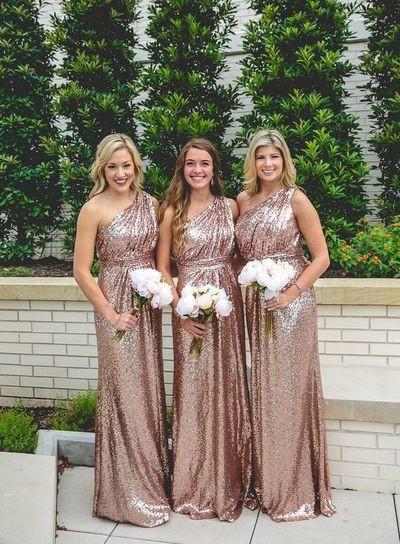 Rose Gold Bridesmaid Dresses,One-shoulder Bridesmaid Dress,Sequin Bridesmaid Dress,Cheap Bridesmaid Dresses,Hot Sale 2017 Bridesmaid Dress,PD00147