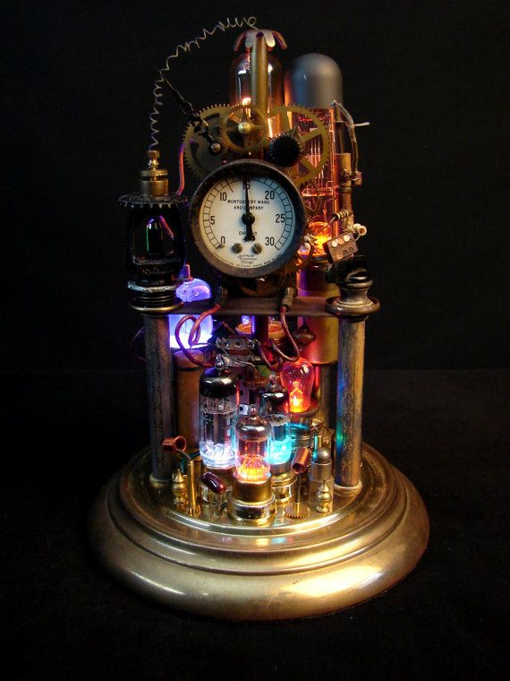 Upcycled Steampunk Lamp Illuminated Assemblage Art
