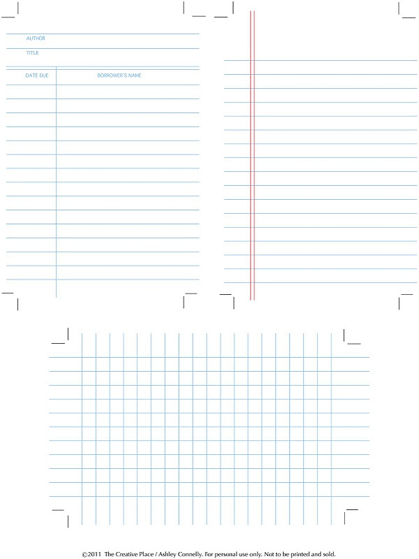 printable library, graph, and note cards  {also a link to handwriting practice, memo, 10 things and calendar}
