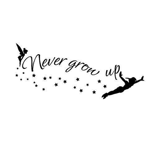 Amazon.com - Walt Disney Quote - Never Grow Up - Tinkerbell - Peter Pan Sayings Vinyl Wall Decal For Kindergarten£¨Small, Black£© -