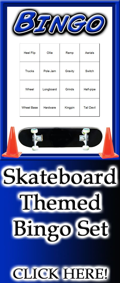 A skateboarding themed Bingo set - ready to be printed and played.  A great skateboard theme party game for a fun skateboarding party