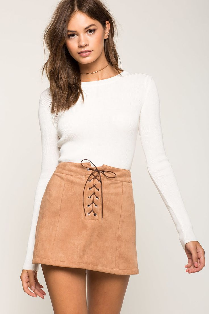 A'GACI | Suede Lace Up Mini Skirt | #Agaci