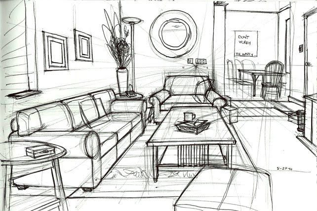 one point perspective drawing living room - Google Search ...