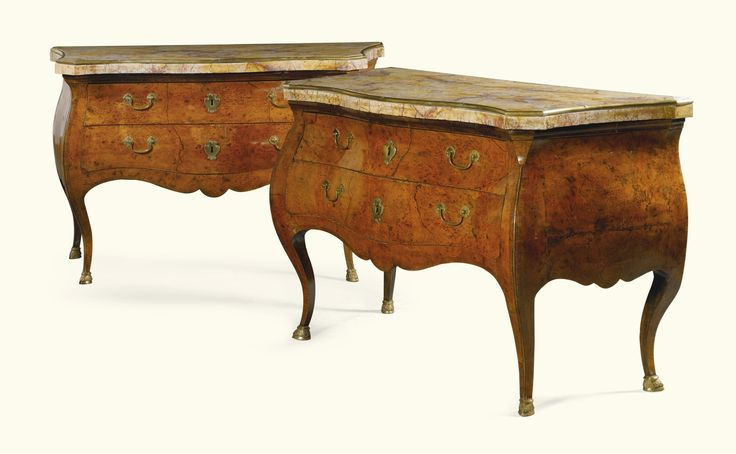 A pair of Italian burr elm commodes, Emilian, probably Parma, circa 1760 | lot | Sotheby's