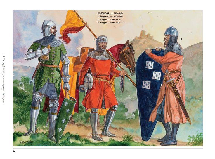 Portugal,c.1340s-80s-1:Sergeant,c.1340s-50s,2:Knight,c.1340s-50s,3:Knight,c.1370s-80s.