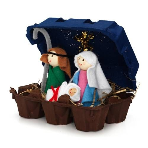 Cuteness! Love this recycled nativity. Need: egg carton box. 3 pc. wooden ball, paint (brown, medium brown, dark blue), felt, toothpick, glitter, pipe cleaners, wool, red pencil, brush, glue