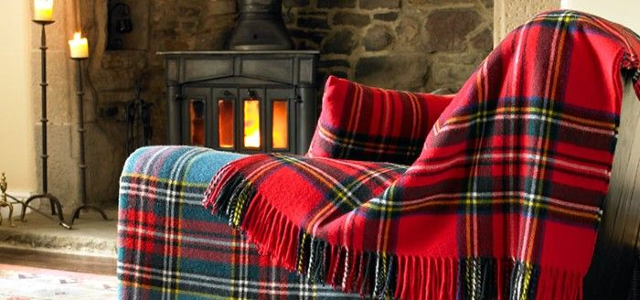 plaid chair and throw