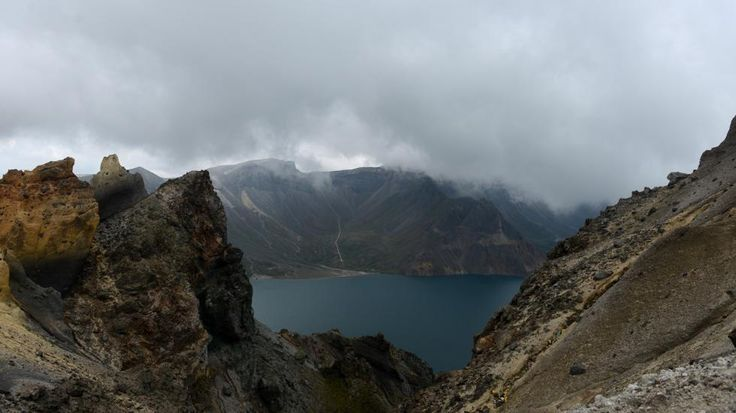 View of Heaven Lake, at Changbai mountain in northeast China's Jilin province, near the border with North Korea. The crater lake and volcano are steeped in legend, the site is believed to be the spiritual birthplace of the Korean people. (WANG ZHAO/AFP/Getty Images)