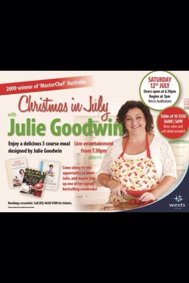 Julie Goodwin is coming to Wests for Christmas in July on Sat 12th July! Call reception on 4628 4188 now!