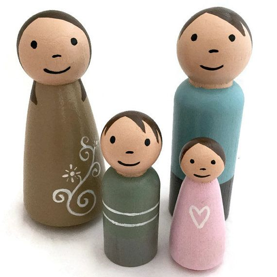 Peg Doll Family - Wooden Peg Dolls - Pastel Peg Dolls - Soft Colors - Ready to Ship - Dollhouse Family - Nursery Decor