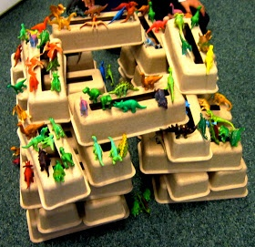 Dinosaur block construction (using packaging) - blocks don't have to be made of wood!