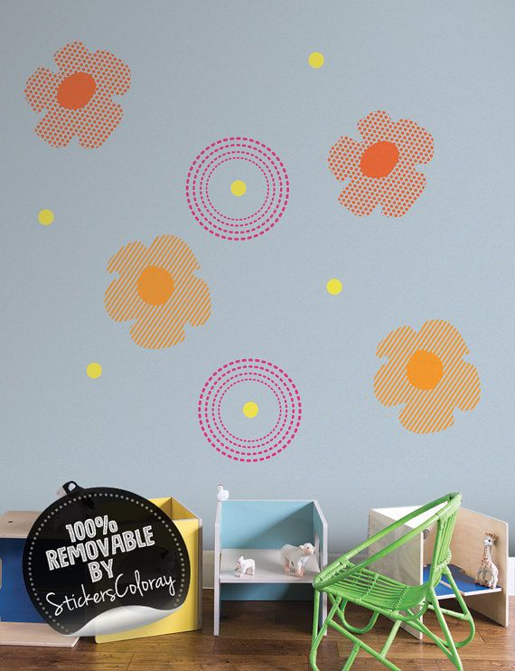Floral dots wall decal, Flowers and Polka dot wall decal, Removable, Peel and Stick, Stripped dots, Dotted, Stripped flower, Wall decor #83