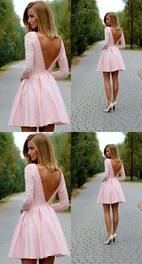 91a5c8f62fa Sexy Low Back Long Sleeves Short Pink Homecoming Dress Prom Dresses ...