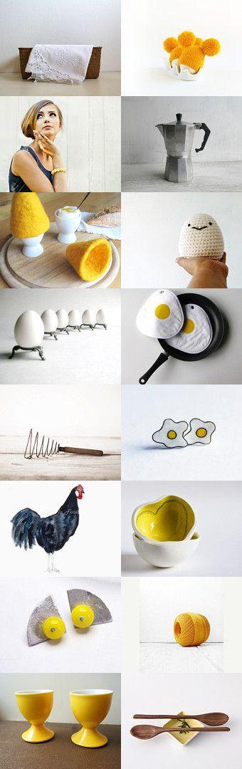 Breakfast Eggs Etsytreasury By Barbara On Etsy Fun Eggs Chicken Yellow Kitchen Accessorieschicken