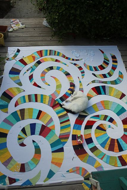 "Bellissimo! ""Rainbow Derecho"" quilt top in progress from the WaterPenny blog. Great colors!"