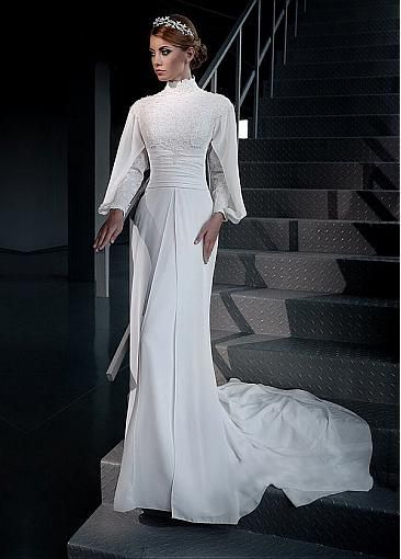 Elegant Chiffon High Collar Neckline Sheath Arabic Islamic Wedding Dresses with Beaded Lace Appliques