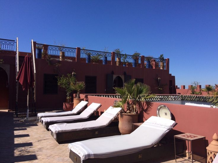 Sunbathing on the terrace of the riad