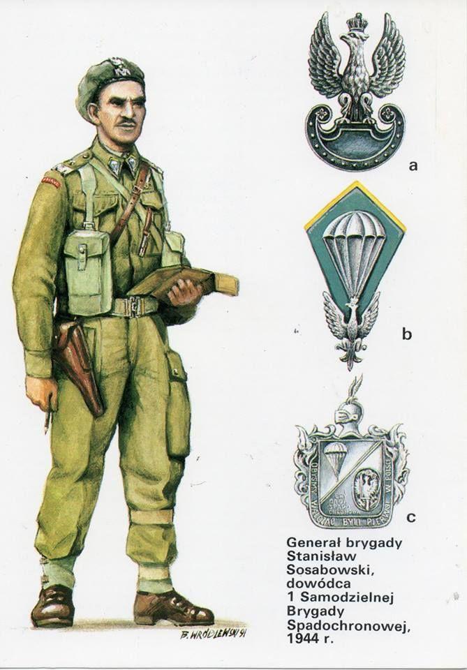 General Stanislaw Sosabowski, 1944 a. Cap badge. b. General Sosabowski's collar patch. c.Commemorative breast badge, 1st Polish Independent Parachute Brigade. https://www.facebook.com/armouredhussars/photos/a.1412839862328291.1073741828.1412819458996998/1450354125243531/?type=3&theater