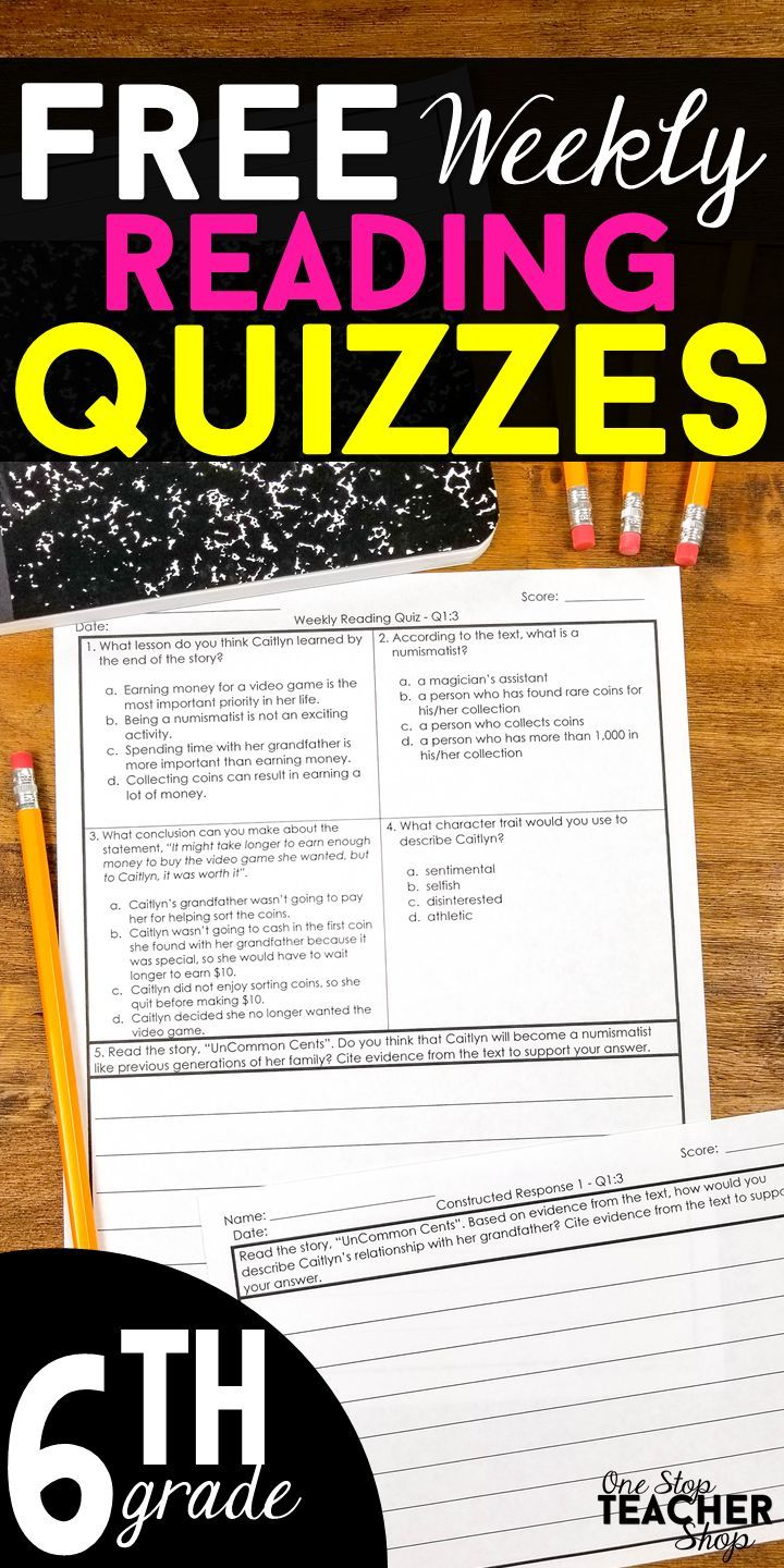 These Free 6th Grade Reading Quizzes Constructed Responses Are Perfect For Weekly Compr 6th Grade Reading Teaching Middle School Reading Constructed Response [ 1440 x 720 Pixel ]