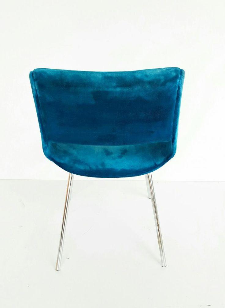 Italian Blue Velvet Chair, 1960s 5