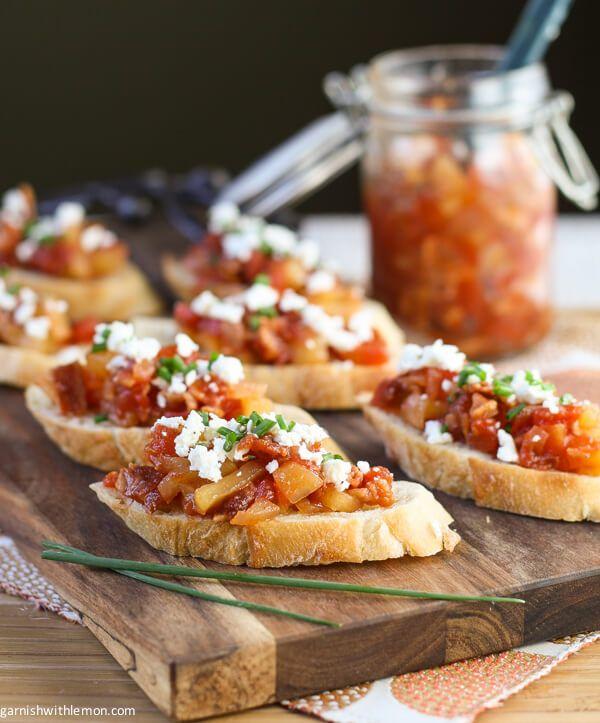 Crostini with Savory Tomato, Bacon & Apple Jam ~ http://www.garnishwithlemon.com http://www.garnishwithlemon.com/crostini-savory-tomato-bacon-apple-jam/