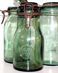 Amazing Antique French Green Glass Storage Jar Dur For
