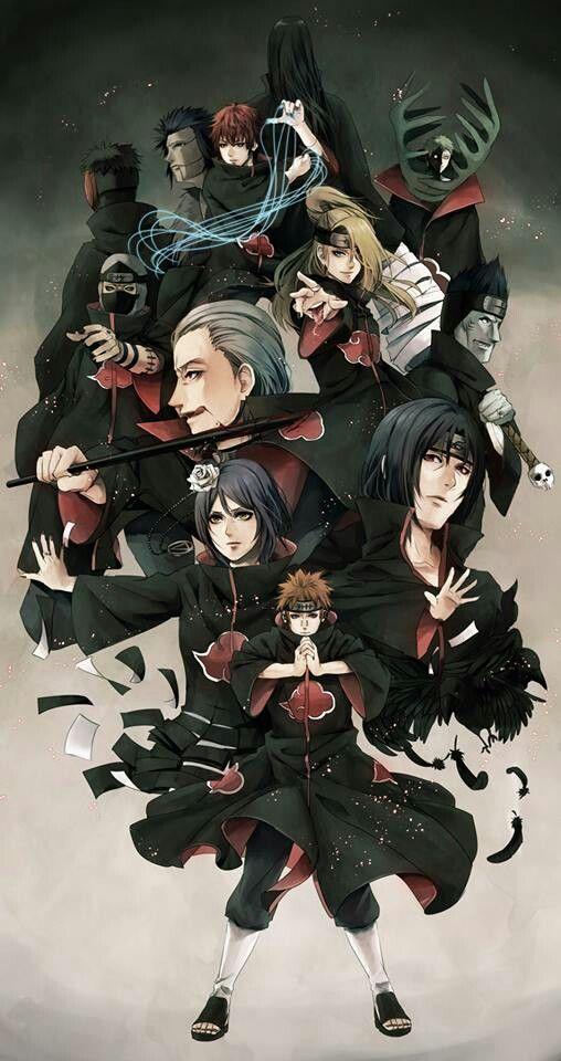 Akatsuki-inicialmente uma organização criada por Yahiko e seus dois companheiros Konan e Nagato, em um esforço para lutar contra a tirania e a opressão que sua aldeia natal.Após a morte de Yahiko e sob a influência de Obito Uchiha, a Akatsuki tornou-se uma organização criminosa formada por Nukenin de Rank-S e é o grupo mais procurado em todo o mundo shinobi.