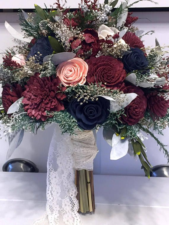 Burgundy, Pink, Navy Marriage ceremony Bouquet made with sola flowers – select your colours – Customized – Different bridal bouquet – bridesmaids bouquet