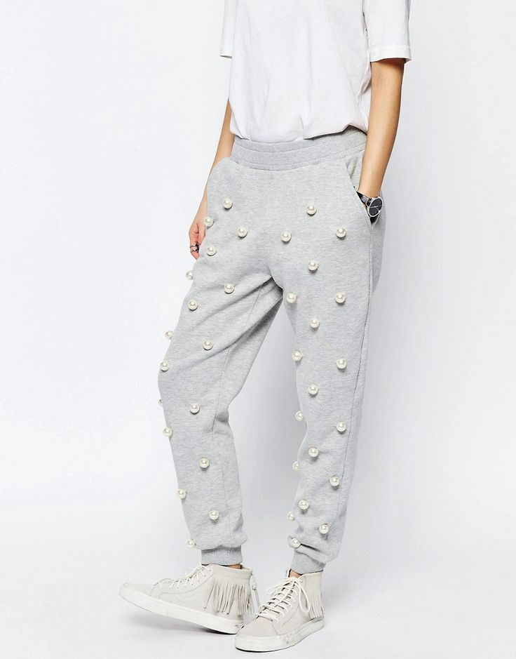 Image 4 of ASOS WHITE Pearl Embellished Joggers