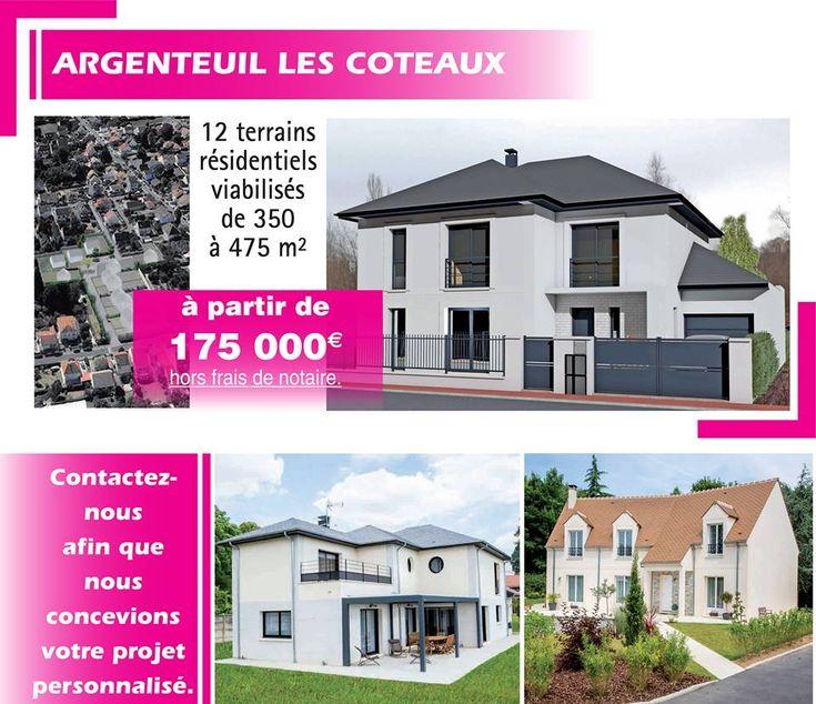 12 terrains résidentiels viabilisés de 350 à 475m² à Argenteuil (95) Pour en savoir plus contactez directement l'agence Maisons ERMI au 0139346666
