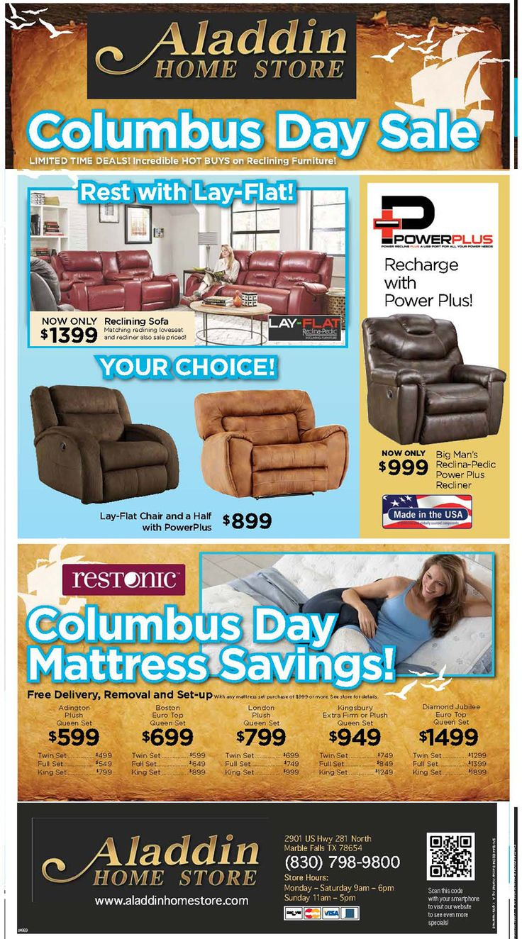 Shop LOCAL In Marble Falls At Aladdin Home Store Stop In For Our Columbus  Day Sale GOING ON NOW! Offering A Wide Range Of Furniture For All Budgets.