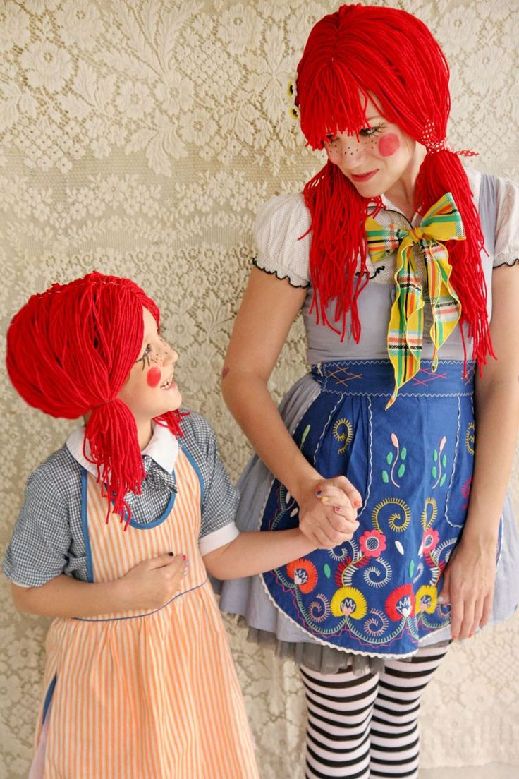 Ragdoll costume for mother/daughter, two sisters, or friends with vastly different heights. Wig how-to included.