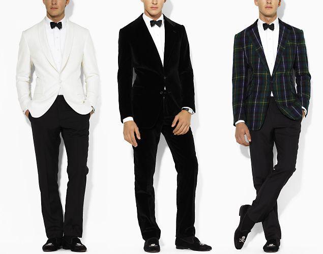 black and white formal | ... . Take your pick: white silk, black velvet, and black watch tartan