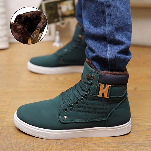 Pu ботильоны теплые мужские сапоги зимние ботинки 2017 новые поступления модные флоковые мужская обувь купить на AliExpress