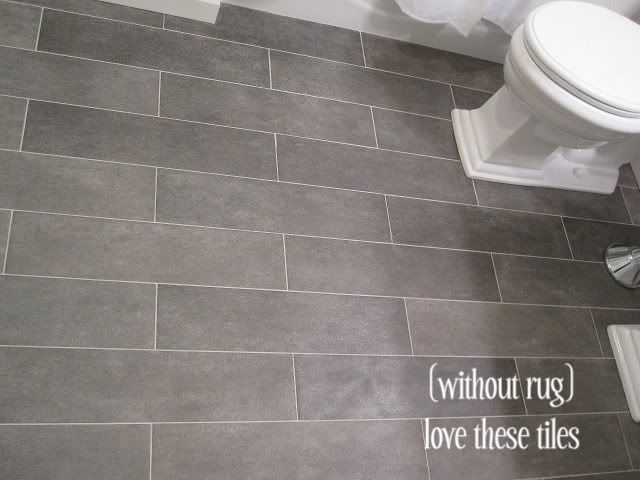 tiles: Crossville Ceramic Co from The Great Indoors, 6x24 planks (color: Lead) promo $9/sq ft (originally $14/sq ft)