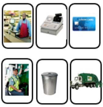 This is a great set of flashcards for associating community helpers and items that go with them. There are 16 different community helpers and 2 associated items for each helper which makes 48 real (not clip art) photos.