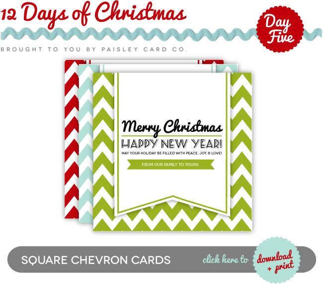 Free Chevron Christmas Cards via Paisley Card Co. #printables