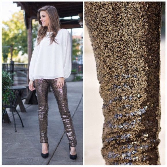 Gorgeous Bronze Sequin Leggings / Pants! Perfect for a glitzy night or the holidays!