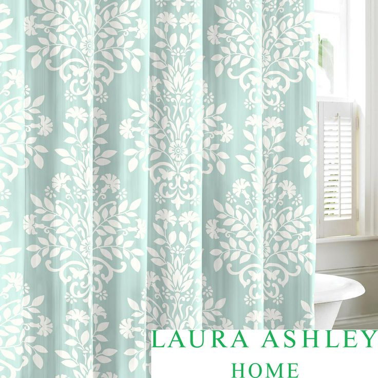 Laura Ashley Rowland Blue Cotton Shower Curtain | Overstock.com Shopping    Great Deals On