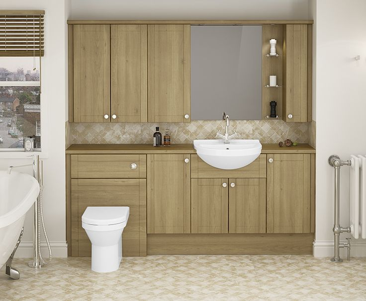 Sofia - For a traditional bathroom style, Sofia is ideal. Shaker style doors add depth to the furniture, and the woodgrain texture brings this finish right up to date.