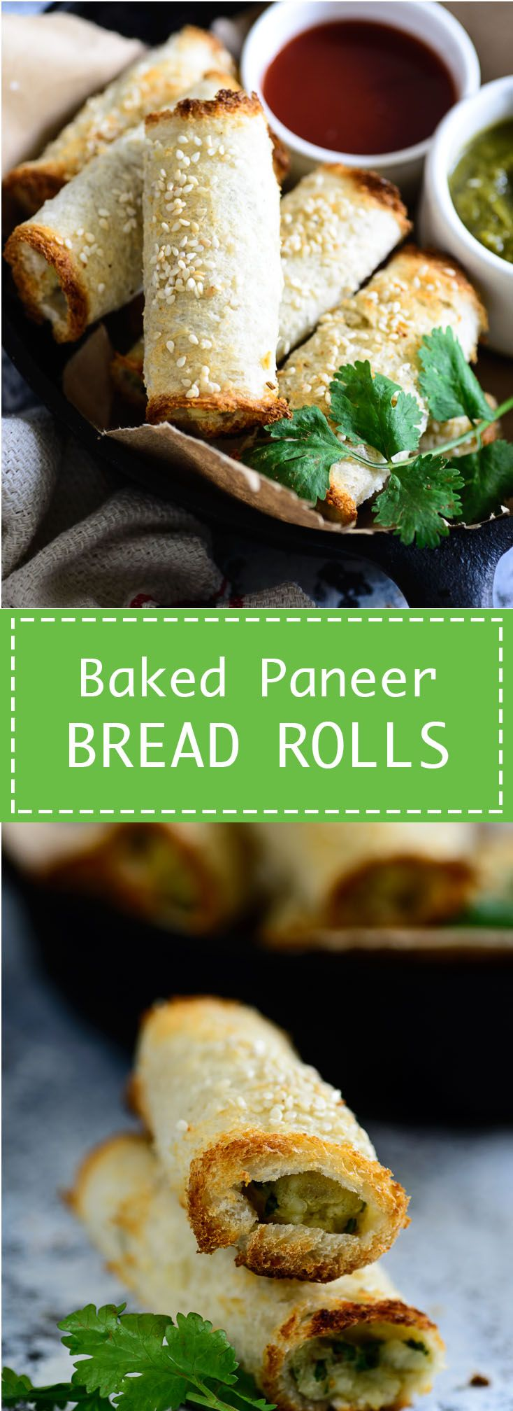 Baked Paneer Bread Rolls. Healthy and delicious snacks filled with Indian cottage cheese and potato filling. Food photography and styling by Neha Mathur