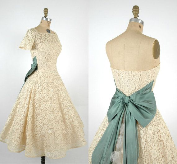 Hey, I found this really awesome Etsy listing at http://www.etsy.com/listing/151956437/vintage-short-lace-wedding-dress-1950s