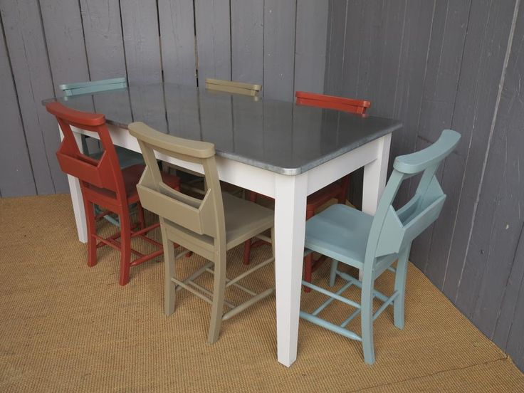 Zinc top table and chair set reclaimed pine farmhouse for Kitchen set zink