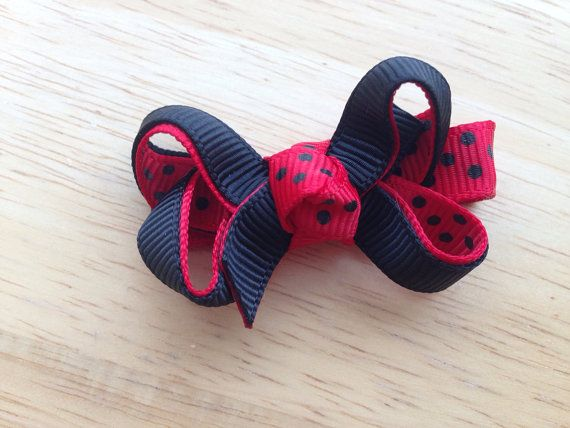 Red & black hair bow  ladybug bow baby bow by BrownEyedBowtique, $2.25