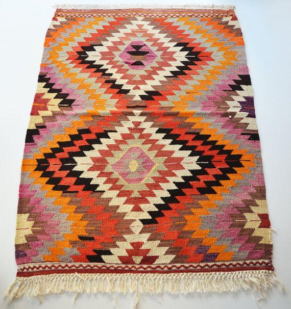 Sukan / VINTAGE Turkish Kilim Rug Carpet - handwoven kilim rug - antique kilim rug - decorative kilim - natural wool on Etsy, Sold