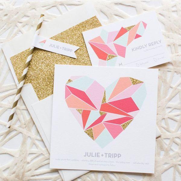 Colorful Geometric Invitation | Jessica Peterson Photography | Modern Gold Glitter Wedding Ideas